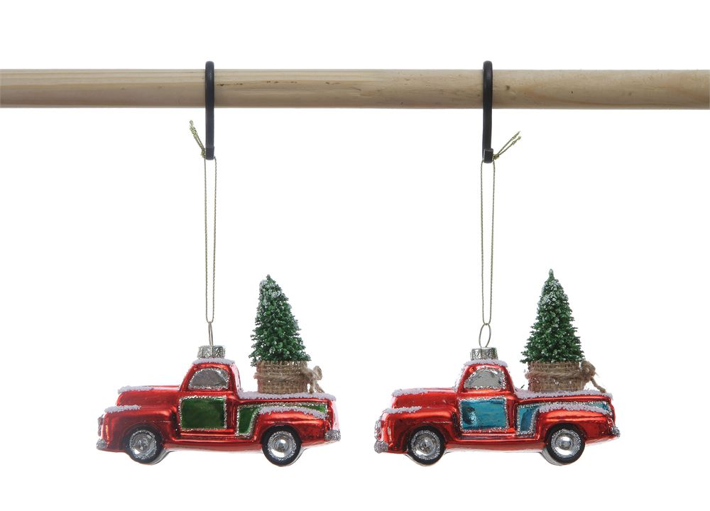 Glass Truck w/ Tree Ornament