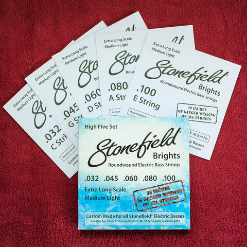 Stonefield Music electric bass guitar string set five-string set for low B tuning