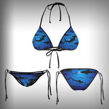 Monkinis™ Custom Full color Bikini - Shark Frenzy Top and Bottom - SurfmonkeyGear  - 1