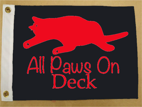 All Paws on Deck Cat Flag - Marine Flag - Boat Flag - SurfmonkeyGear  - 1