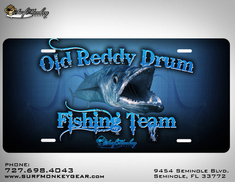 Old Reddy Drum Fishing Team Custom License Plate with Custom Text and Graphics Aluminum Front Plate - SurfmonkeyGear