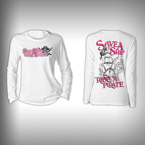 Save a Ship Ride a Pirate  - Womens Performance Shirt - Fishing Shirt - SurfmonkeyGear  - 1