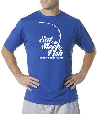 Performance T-shirt Moisture Wicking, Odor Resistant - Eat, Sleep, Fish - SurfmonkeyGear  - 1