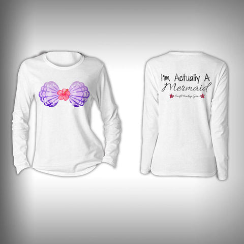 Mermaid Shirt - Im Actually a Mermaid  - Womens Performance Shirt - Fishing Shirt - SurfmonkeyGear  - 1