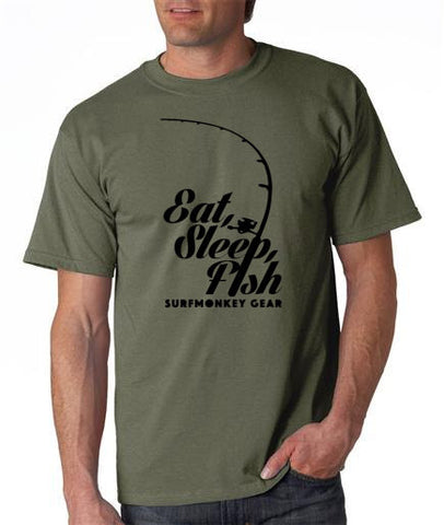 Cotton Tshirts - Eat Sleep Fish T Shirt - SurfmonkeyGear  - 1