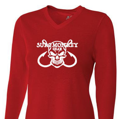 Womens Tri-blend Performance Shirt - Skull Hooks - SurfmonkeyGear  - 1