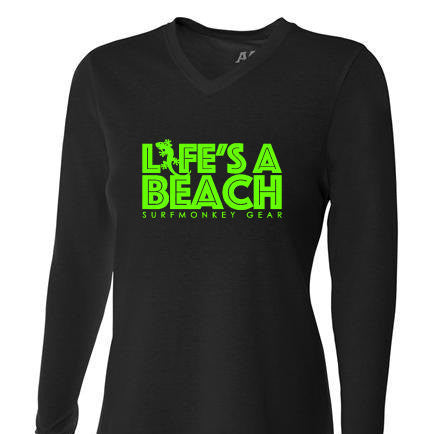 Womens Tri-blend Performance Shirt - Life's a Beach - SurfmonkeyGear  - 1