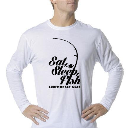 Long Sleeve Unisex Performance Tri-Blend Shirt - Eat Sleep Fish - SurfmonkeyGear  - 1