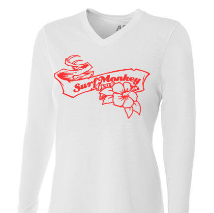 Womens Tri-blend Performance Shirt - Hibiscus Ribbon - SurfmonkeyGear  - 1