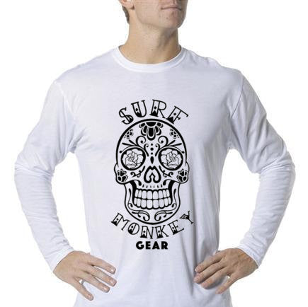 Long Sleeve Unisex Performance Tri-Blend Shirt - Sugar Skull - SurfmonkeyGear  - 1