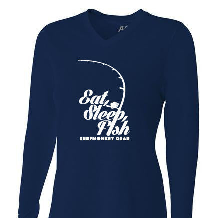 Womens Tri-blend Performance Shirt - Eat Sleep Fish - SurfmonkeyGear  - 1