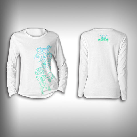 Turtles  - Womens Performance Shirt - Fishing Shirt Activewear Shirt Turtle - SurfmonkeyGear  - 1