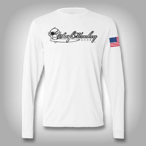 Surfmonkey Pro Performance Distressed Logo Long Sleeve Solar