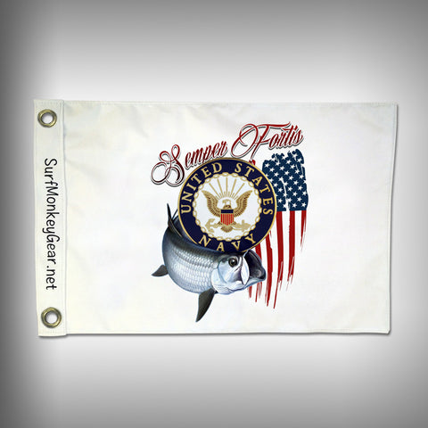 Custom Fishing Navy Flag - Marine Grade - Boat Flag - SurfmonkeyGear