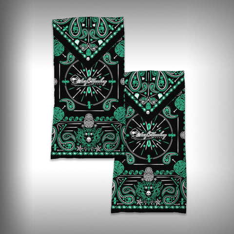 Monk Wrap Neck Gaiter / Face Shield - Bandana Green Skull - SurfmonkeyGear