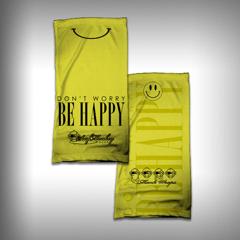 Monk Wrap Neck Gaiter - Face Shield - Bandana - Smiley Be Happy - SurfmonkeyGear