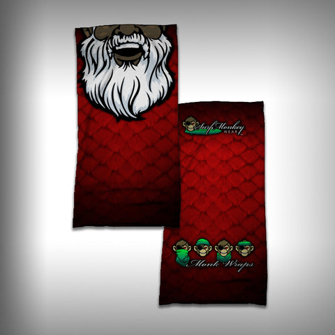 Monk Wrap Neck Gaiter / Face Shield - Black Santa - SurfmonkeyGear