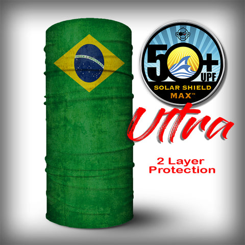 Monk Wrap Neck Gaiter - Face Shield - Bandana - Brazil Flag Ultra