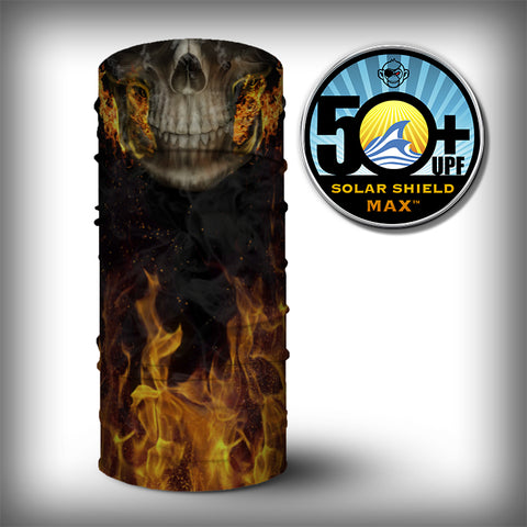 Monk Wrap Neck Gaiter - Face Shield - Bandana - Flaming Skull