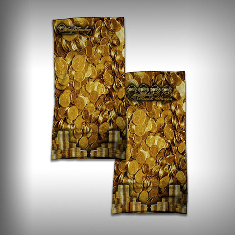 Monk Wrap Neck Gaiter - Face Shield - Bandana - Gold Coins - SurfmonkeyGear