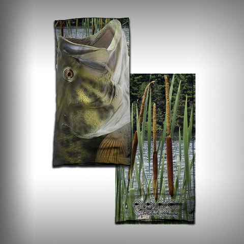 Monk Wrap Neck Gaiter - Face Shield - Bandana - Large Mouth Bass - SurfmonkeyGear