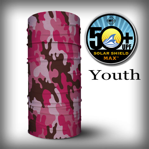 Monk Wrap Neck Gaiter - Face Shield - Bandana - YOUTH - Pink Camo