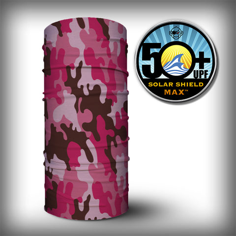 Monk Wrap Neck Gaiter - Face Shield - Bandana - Pink Camo
