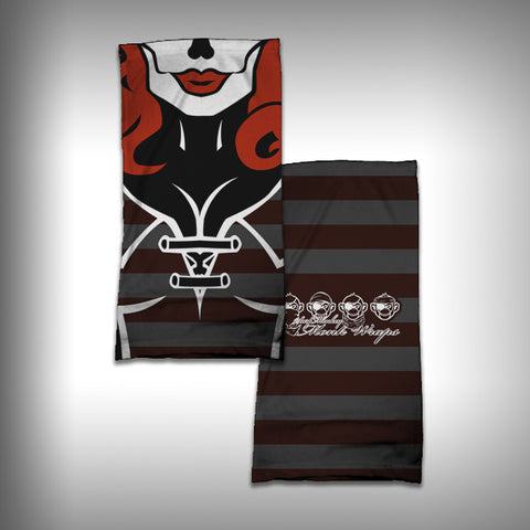 Monk Wrap Neck Gaiter - Face Shield - Bandana - Skull Red Betty - SurfmonkeyGear