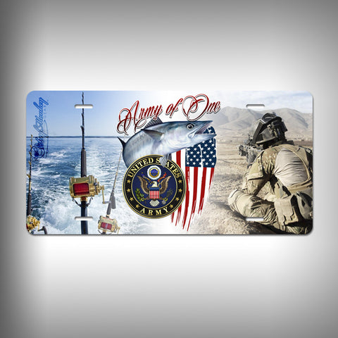 Army Custom License Plate / Vanity Plate with Custom Text and Graphics Aluminum - SurfmonkeyGear
