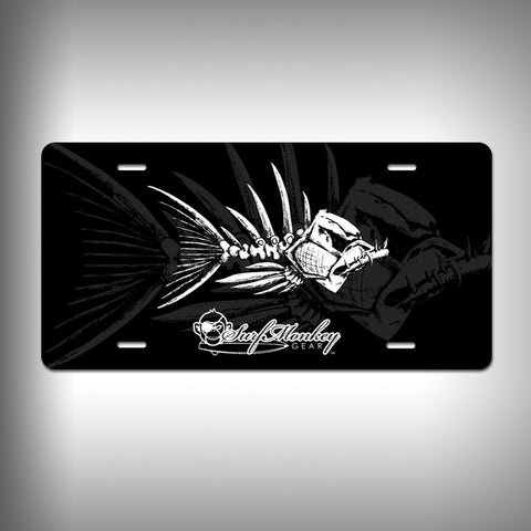 Bone Fish Custom License Plate / Vanity Plate with Custom Text and Graphics Aluminum - SurfmonkeyGear
