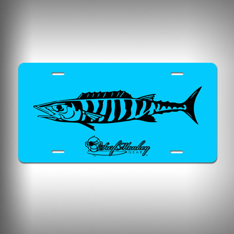 Wahoo Custom License Plate with Custom Text and Graphics Aluminum Front Plate - SurfmonkeyGear