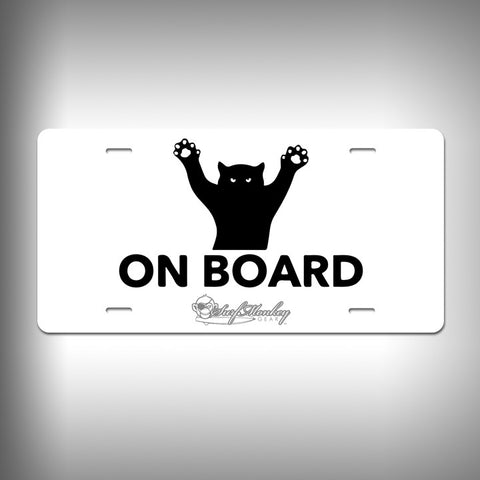 Cat on Board Custom License Plate / Vanity Plate with Custom Text and Graphics Aluminum - SurfmonkeyGear