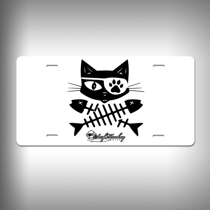Cat Pirate Custom License Plate / Vanity Plate with Custom Text and Graphics Aluminum - SurfmonkeyGear