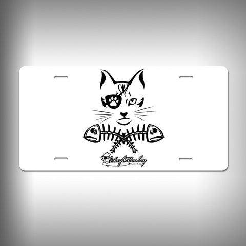 New Cat Pirate Custom License Plate / Vanity Plate with Custom Text and Graphics Aluminum - SurfmonkeyGear