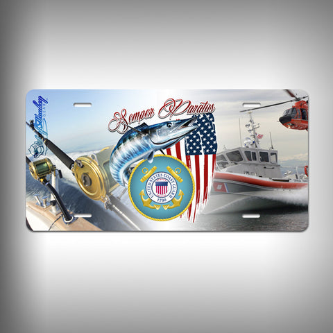 Coast Guard Custom License Plate / Vanity Plate with Custom Text and Graphics Aluminum - SurfmonkeyGear