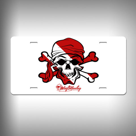 Dive Pirate Skull Custom License Plate / Vanity Plate with Custom Text and Graphics Aluminum - SurfmonkeyGear