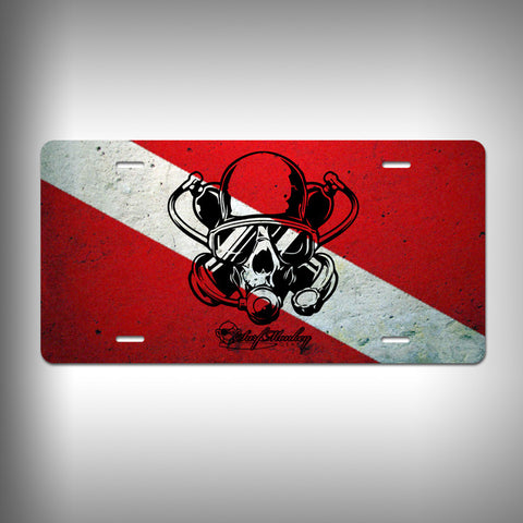 Diver Skull Custom License Plate / Vanity Plate with Custom Text and Graphics Aluminum - SurfmonkeyGear