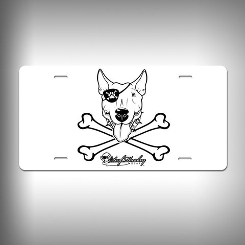 Bull Terrier Pirate Custom License Plate / Vanity Plate with Custom Text and Graphics Aluminum - SurfmonkeyGear