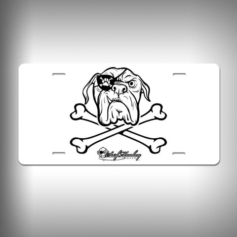 Bulldog Pirate Custom License Plate / Vanity Plate with Custom Text and Graphics Aluminum - SurfmonkeyGear