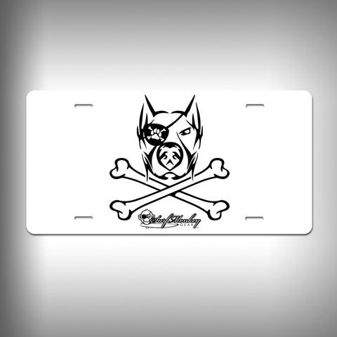 Doberman Pirate Custom License Plate / Vanity Plate with Custom Text and Graphics Aluminum - SurfmonkeyGear