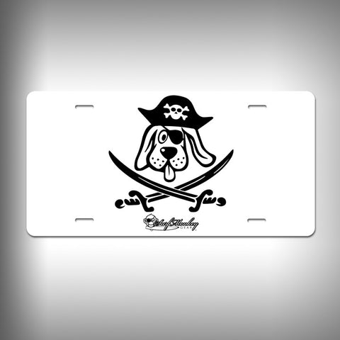 Hound dog Pirate Custom License Plate / Vanity Plate with Custom Text and Graphics Aluminum - SurfmonkeyGear