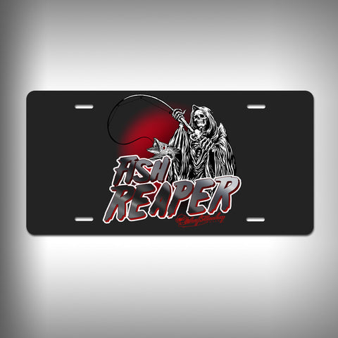 Fish Reaper Custom License Plate / Vanity Plate with Custom Text and Graphics Aluminum - SurfmonkeyGear