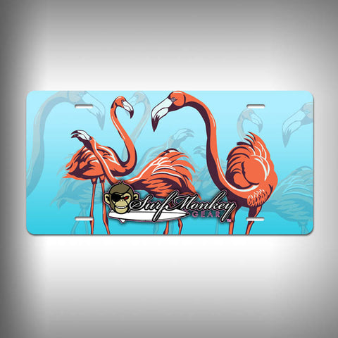 Pink Flamingos Custom License Plate / Vanity Plate with Custom Text and Graphics Aluminum - SurfmonkeyGear