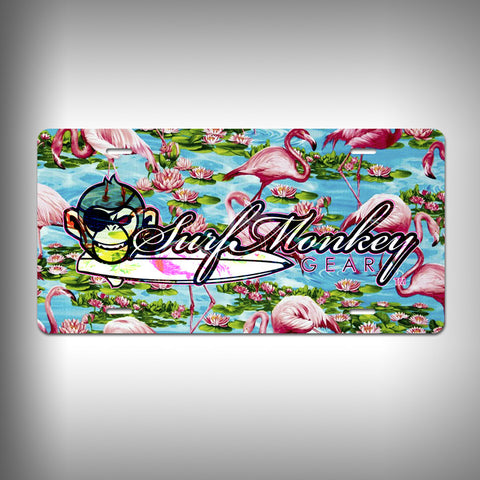 Flamingo Custom License Plate / Vanity Plate with Custom Text and Graphics Aluminum - SurfmonkeyGear