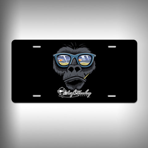 Beach Gorilla Custom License Plate / Vanity Plate with Custom Text and Graphics Aluminum - SurfmonkeyGear