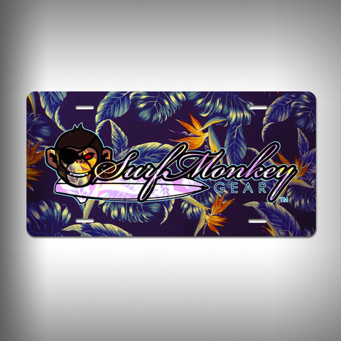 Hawaiian Purple Print Custom License Plate / Vanity Plate with Custom Text and Graphics Aluminum - SurfmonkeyGear