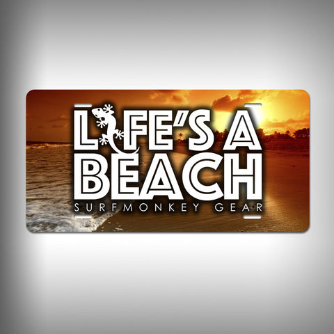 Lifes a Beach Custom License Plate / Vanity Plate with Custom Text and Graphics Aluminum - SurfmonkeyGear