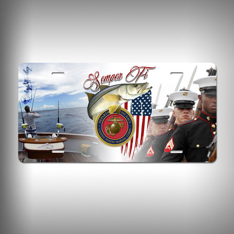 Marines Custom License Plate / Vanity Plate with Custom Text and Graphics Aluminum - SurfmonkeyGear