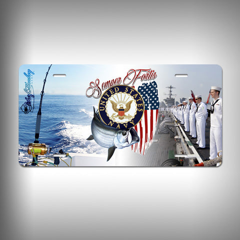 Navy Custom License Plate / Vanity Plate with Custom Text and Graphics Aluminum - SurfmonkeyGear