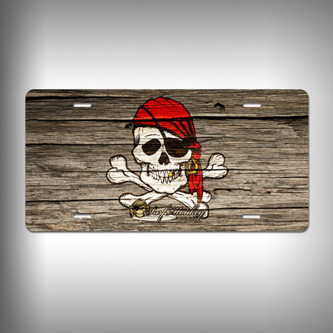 Skull Pirate Custom License Plate / Vanity Plate with Custom Text and Graphics Aluminum - SurfmonkeyGear